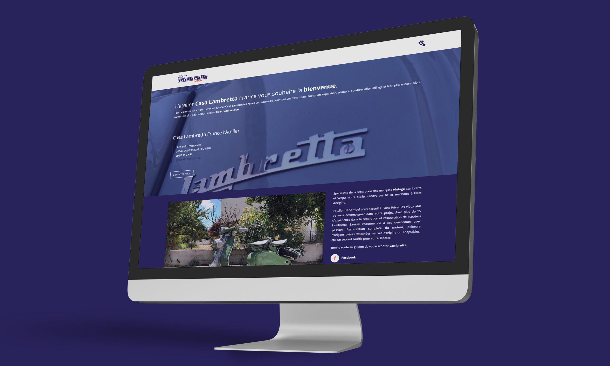 Site internet Casa Lambretta l'Atelier, réparation de scooters Lambretta et Vespa