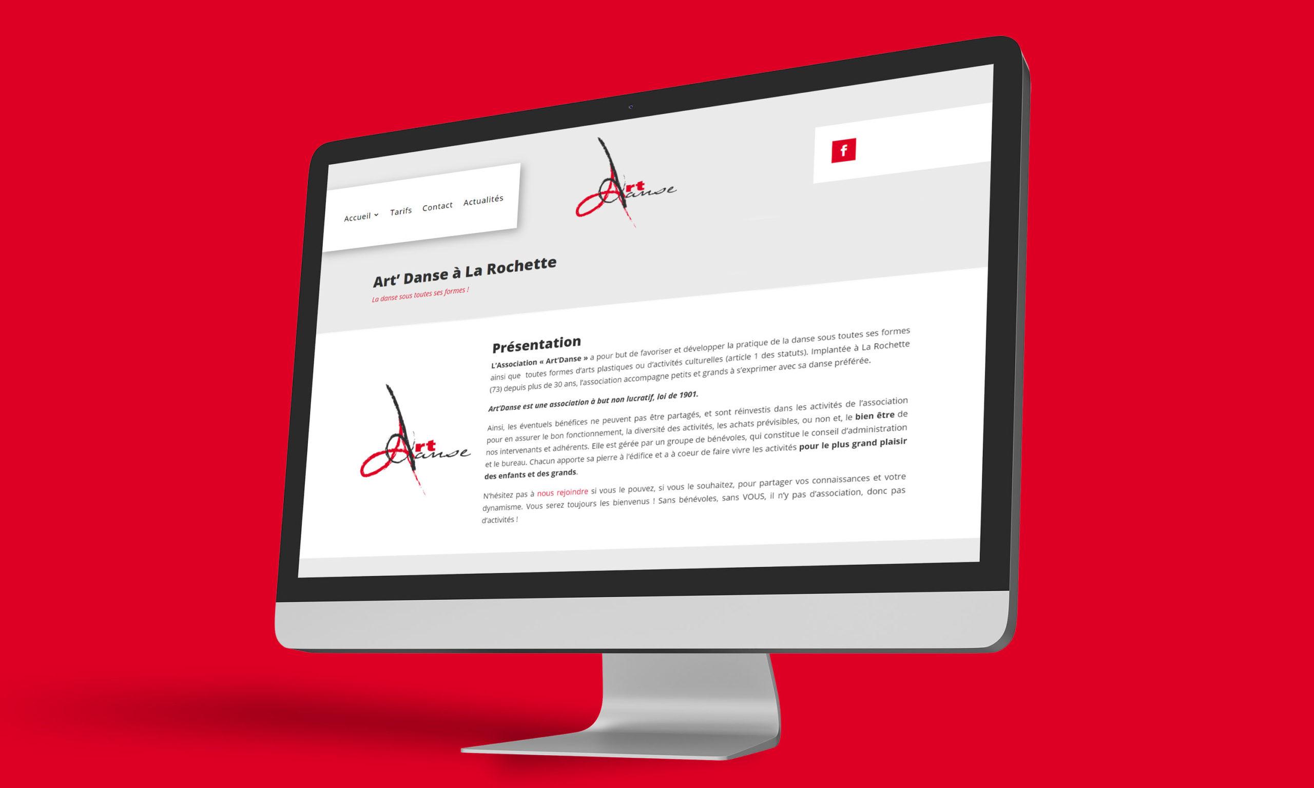 Visuel du site web créé pour l'association Art Danse à La Rochette, sur ordinateur