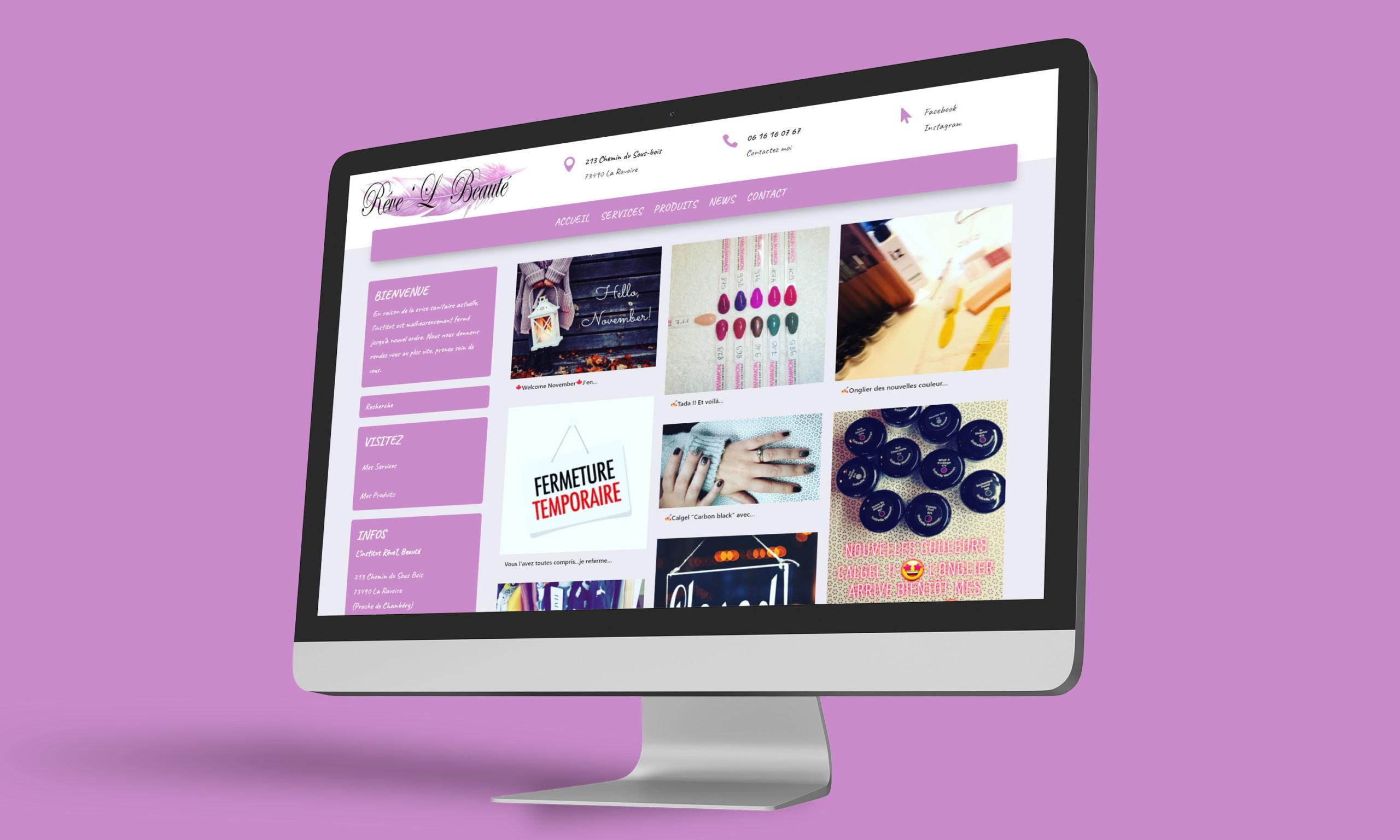 Visuel du site web créé pour l'institut Rêve'L Beauté à La Ravoire, sur ordinateur