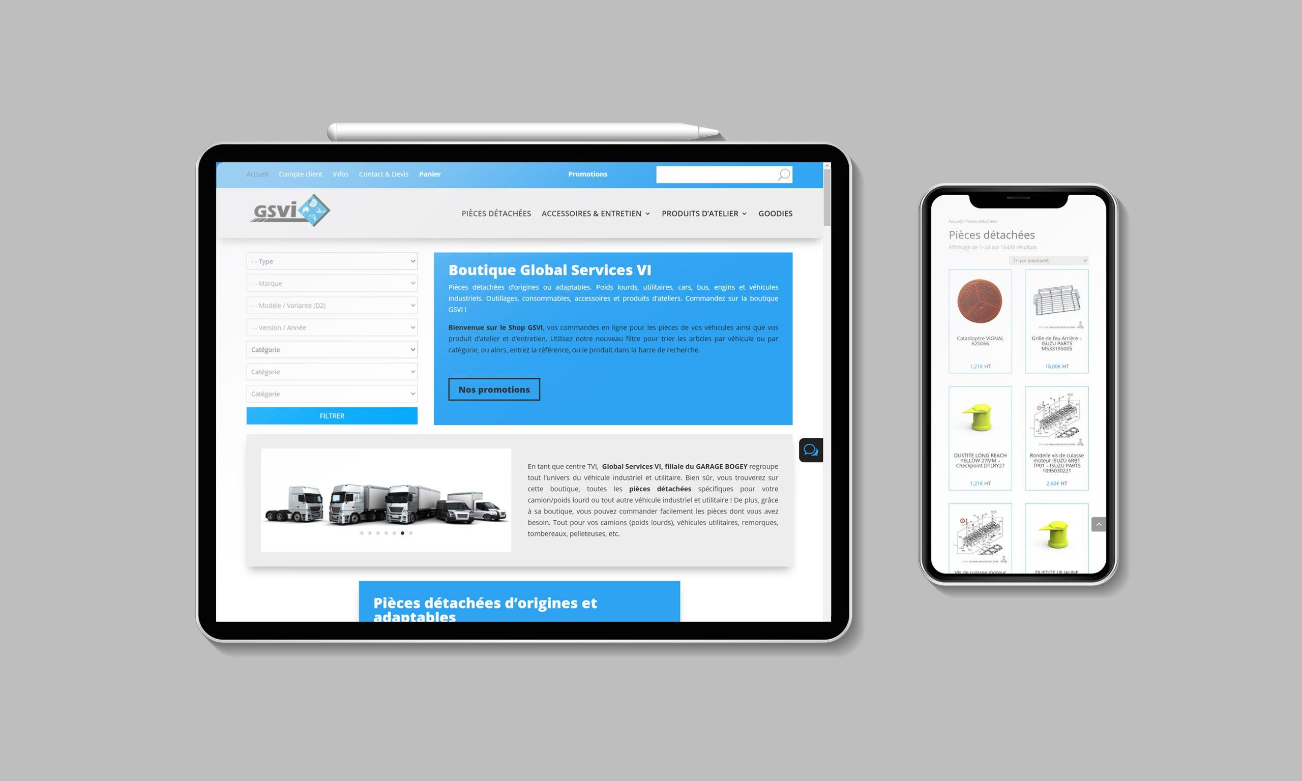 Vente de pièces en ligne. Création du e-commerce Shop GSVI par NGDesign