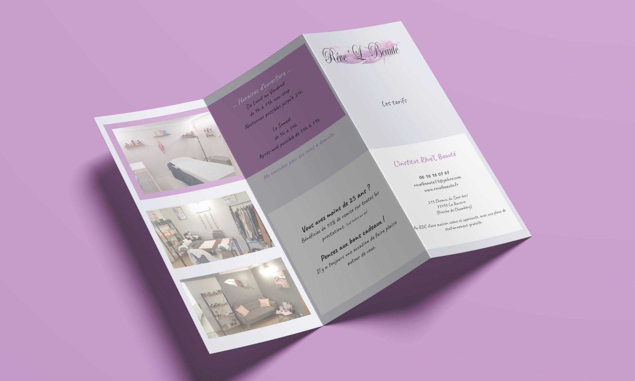 Brochure 3 volets pour Rêve'L Beauté à La Ravoire. NGDesign votre agence de com
